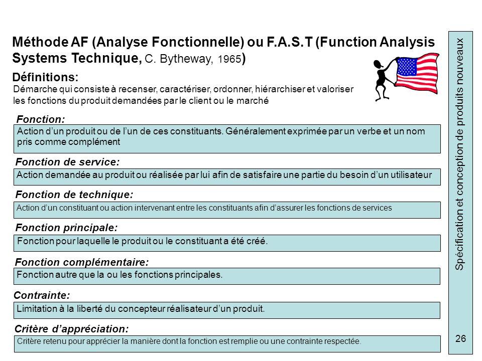 Méthode AF (Analyse Fonctionnelle) ou F. A. S