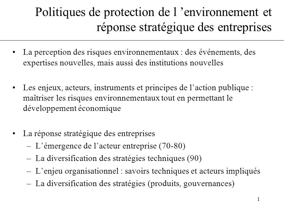 Politiques de protection de l 'environnement et réponse stratégique des entreprises