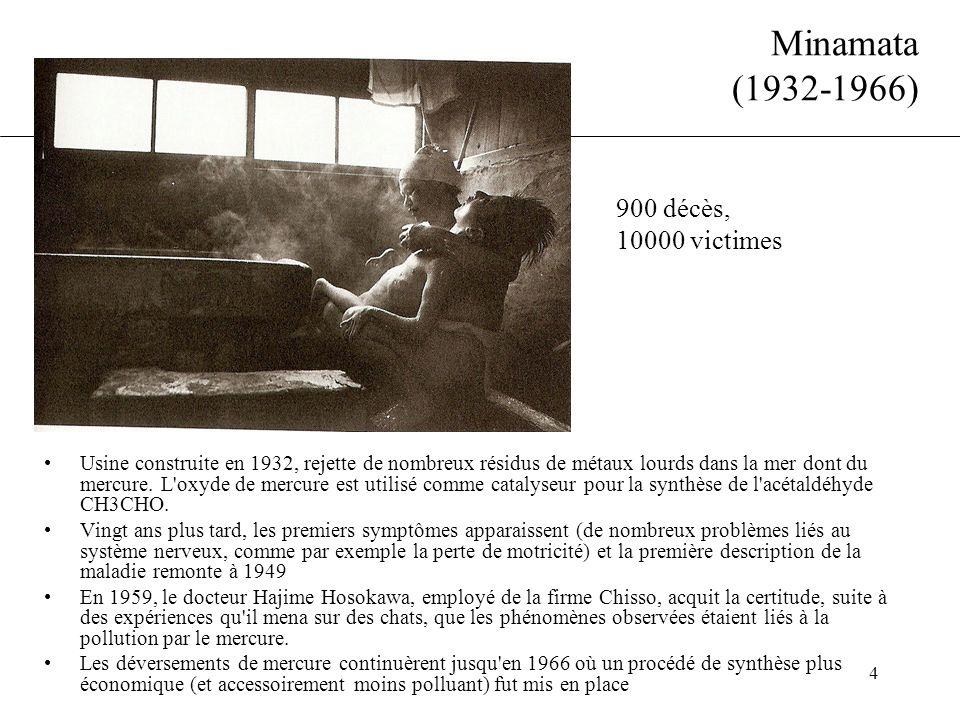 Minamata (1932-1966) 900 décès, 10000 victimes