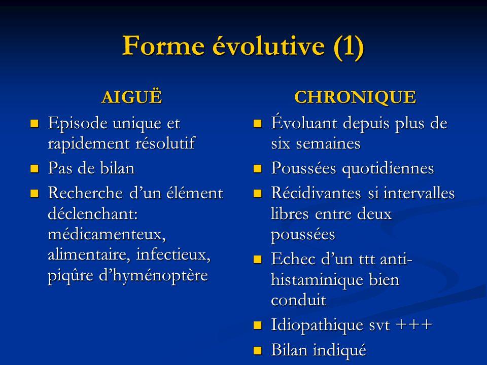 Forme évolutive (1) AIGUË Episode unique et rapidement résolutif