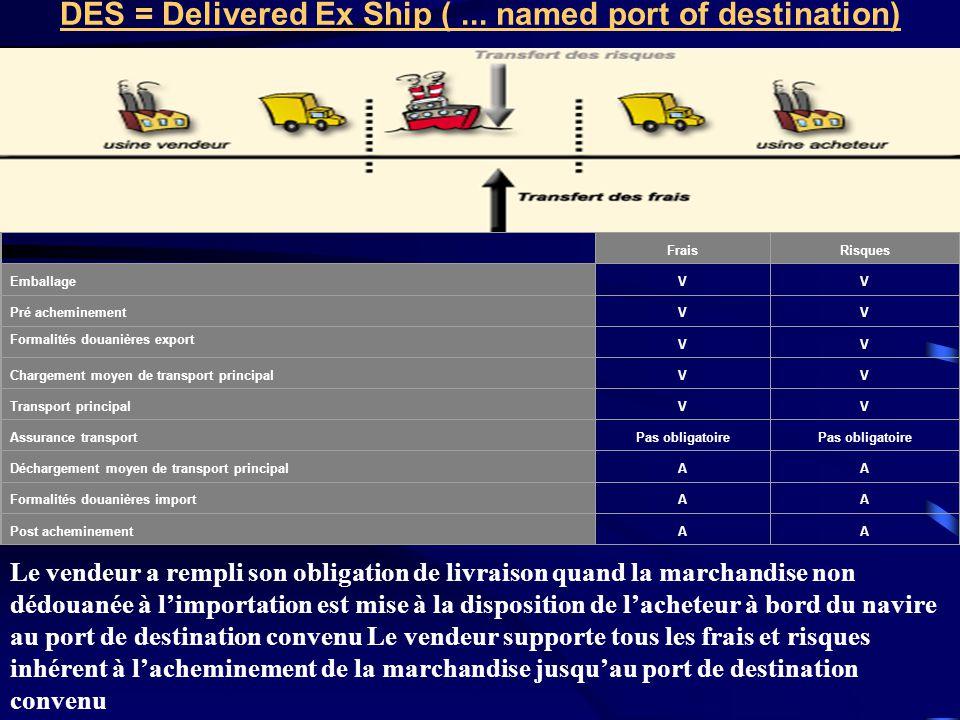 DES = Delivered Ex Ship ( ... named port of destination)