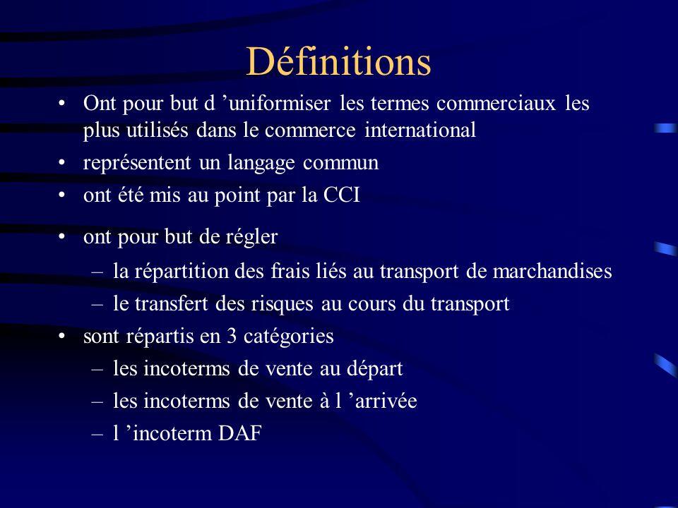 Définitions Ont pour but d 'uniformiser les termes commerciaux les plus utilisés dans le commerce international.