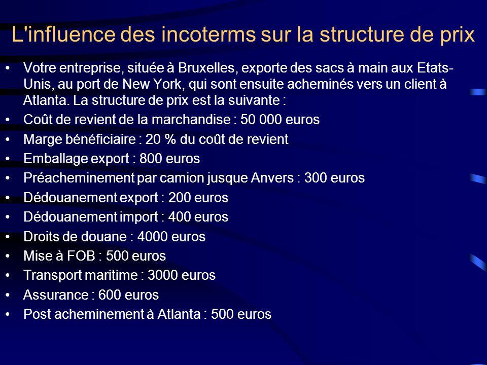 L influence des incoterms sur la structure de prix