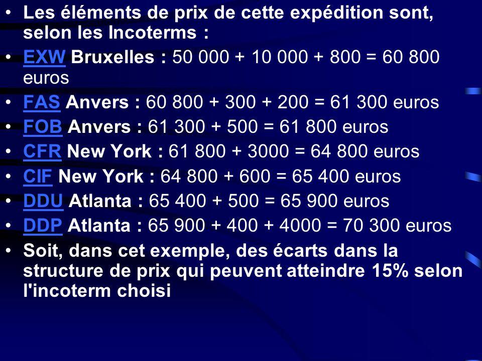 Les éléments de prix de cette expédition sont, selon les Incoterms :
