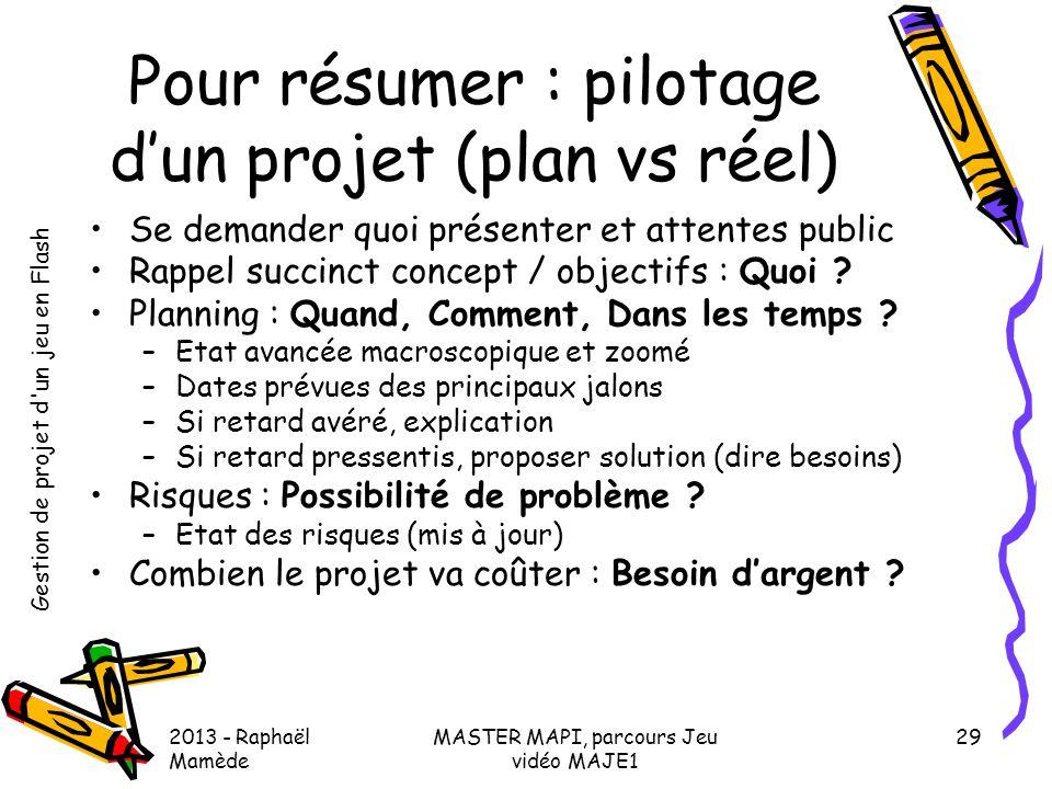 Pour résumer : pilotage d'un projet (plan vs réel)