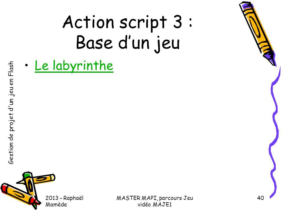 Action script 3 : Base d'un jeu