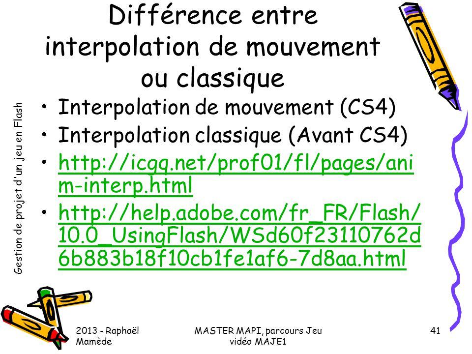 Différence entre interpolation de mouvement ou classique