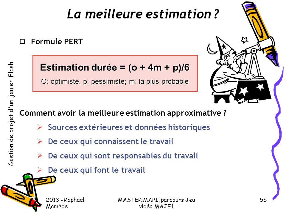 La meilleure estimation Estimation durée = (o + 4m + p)/6