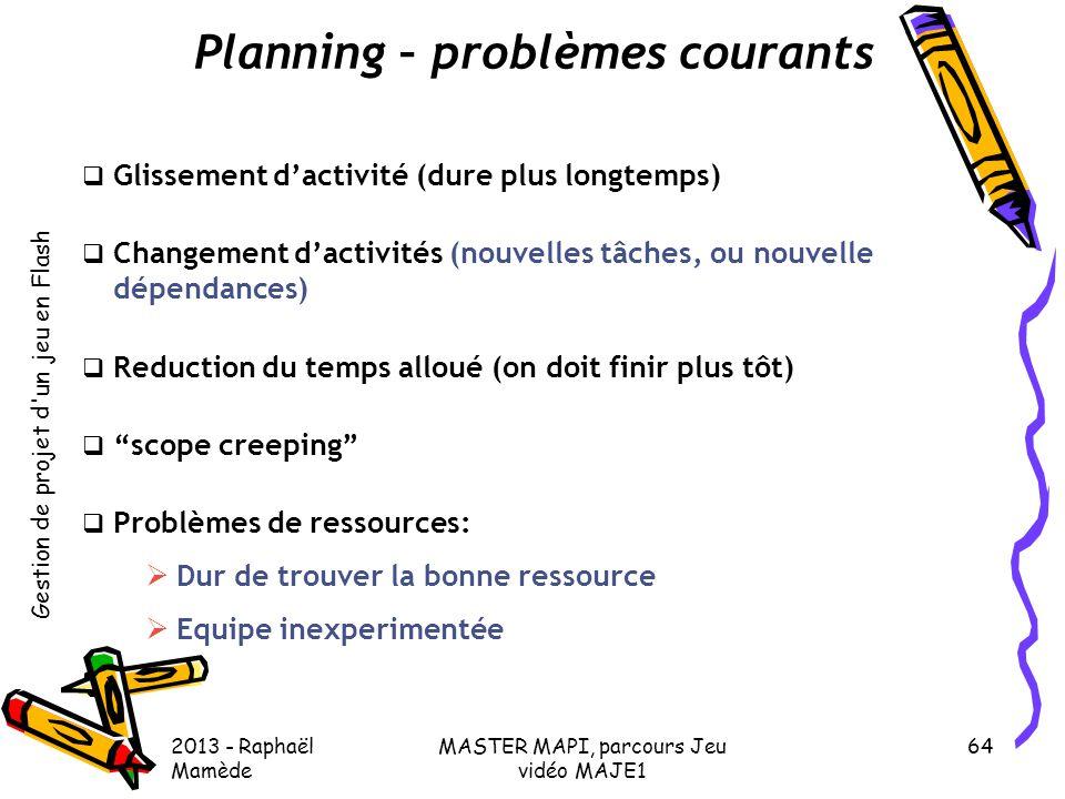 Planning – problèmes courants