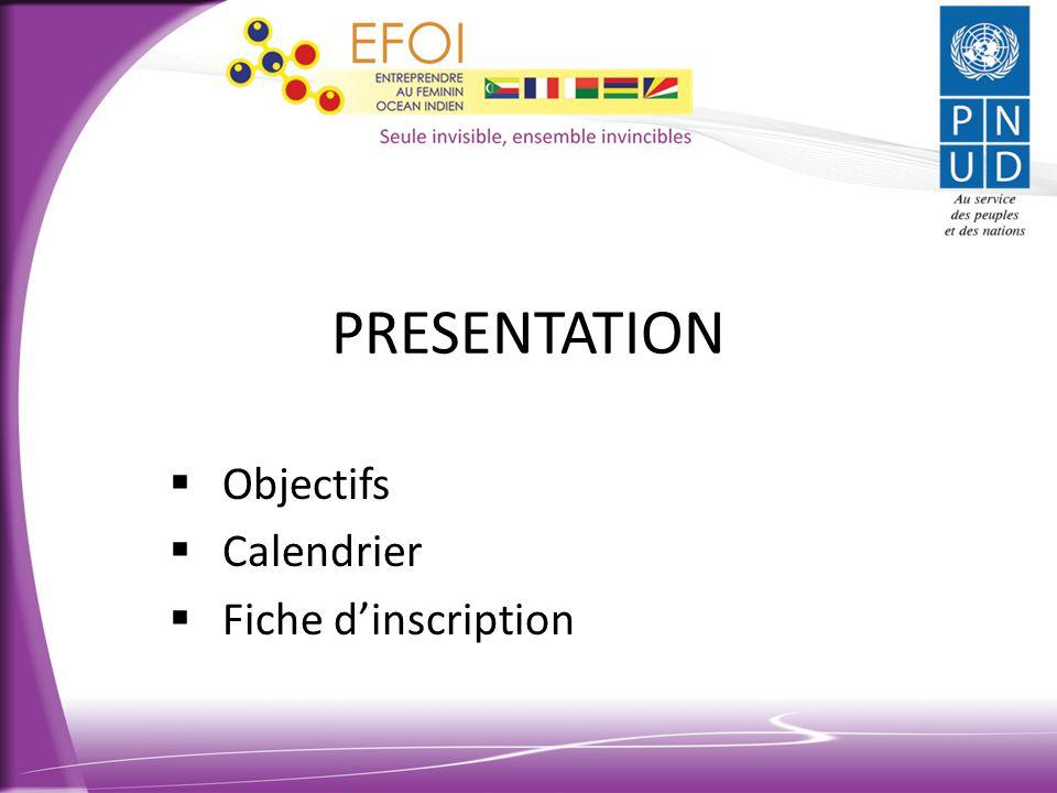 Objectifs Calendrier Fiche d'inscription