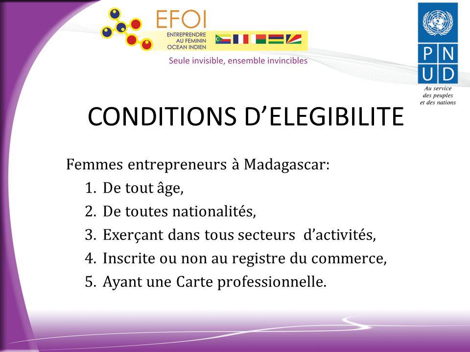 CONDITIONS D'ELEGIBILITE