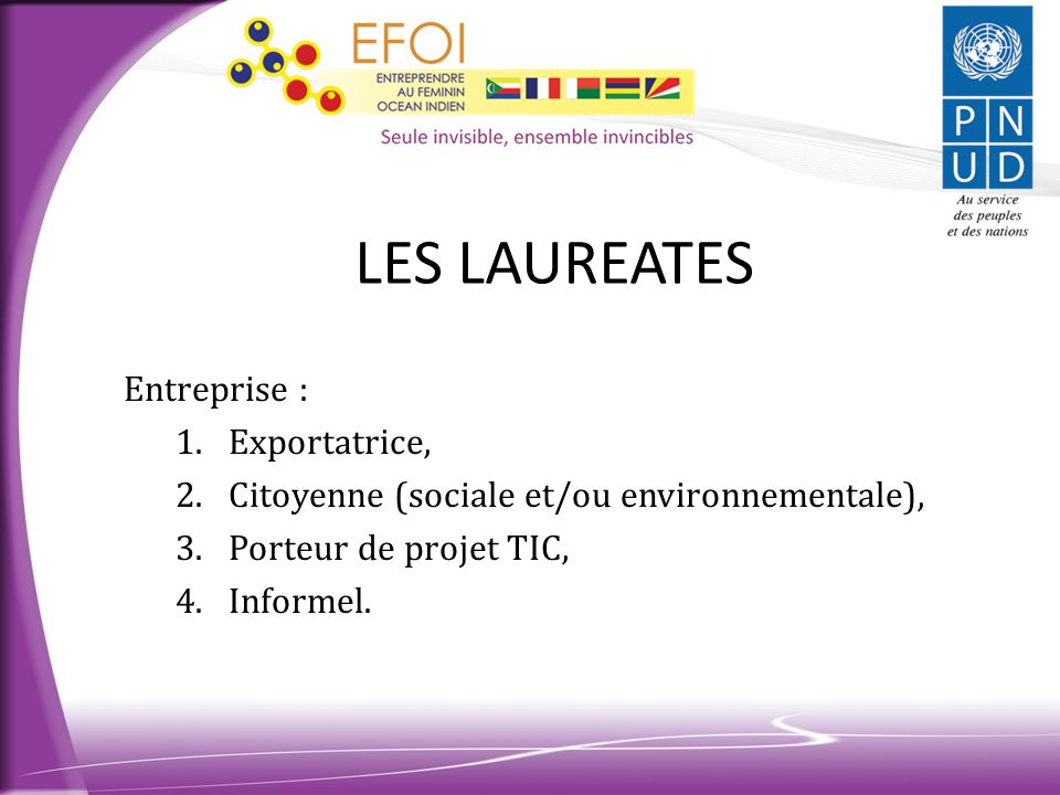 LES LAUREATES Entreprise : Exportatrice,