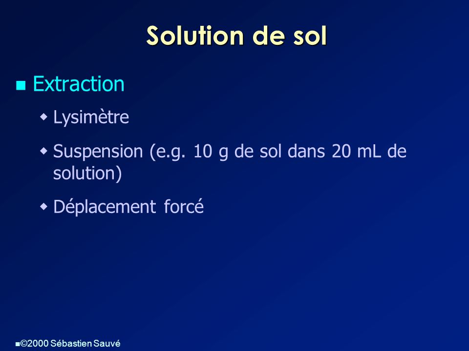 Solution de sol Extraction Lysimètre