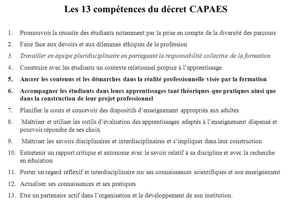 Les 13 compétences du décret CAPAES