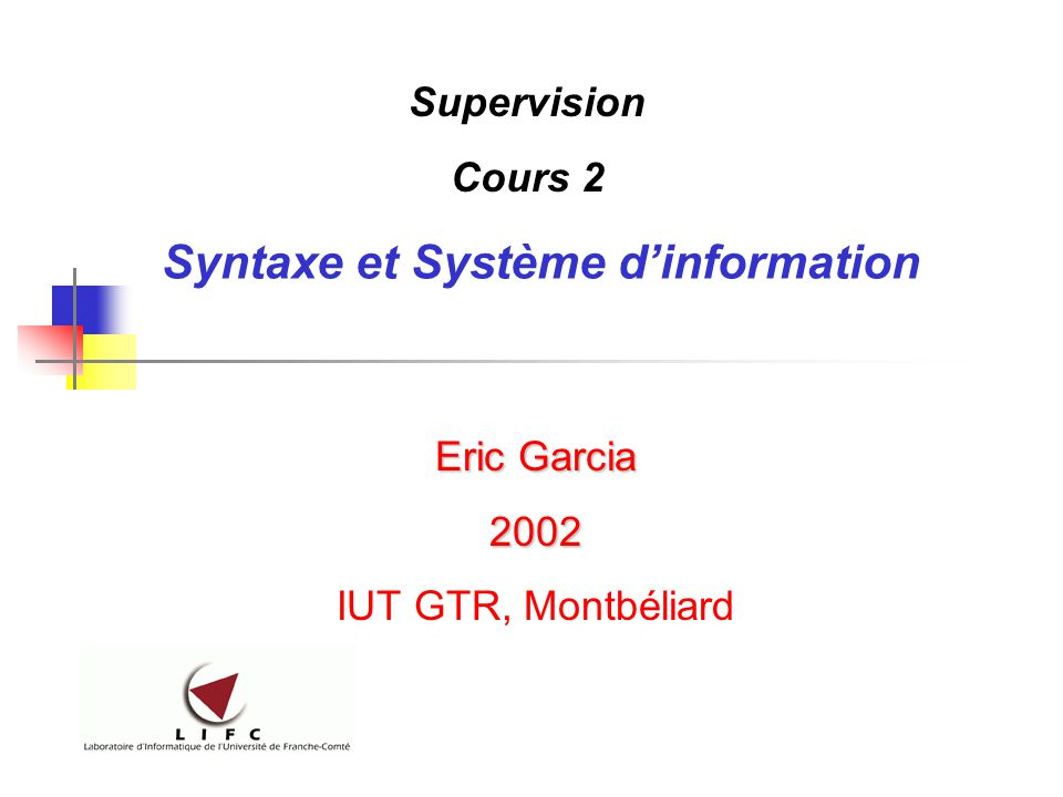 Syntaxe et Système d'information