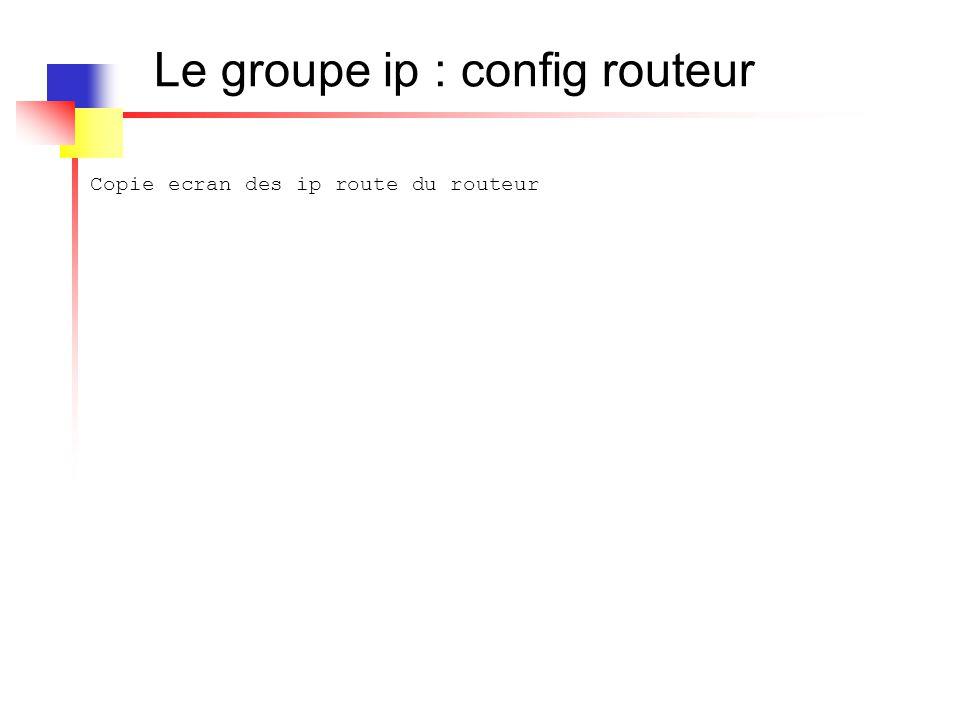 Le groupe ip : config routeur