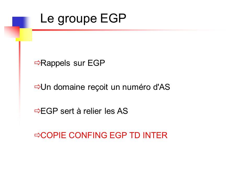 Le groupe EGP Rappels sur EGP Un domaine reçoit un numéro d AS