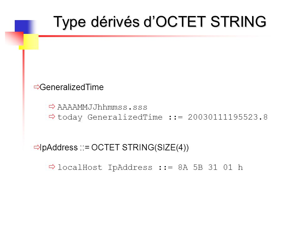 Type dérivés d'OCTET STRING