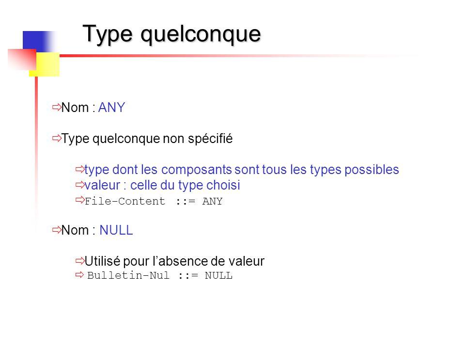 Type quelconque Nom : ANY Type quelconque non spécifié