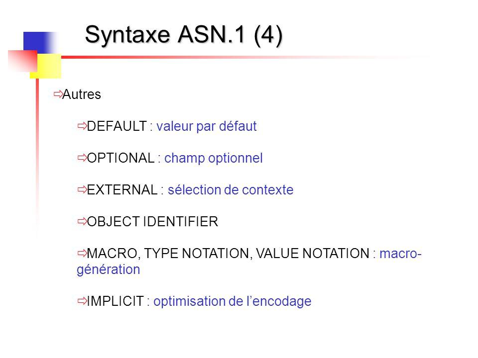 Syntaxe ASN.1 (4) Autres DEFAULT : valeur par défaut