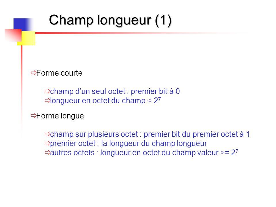 Champ longueur (1) Forme courte