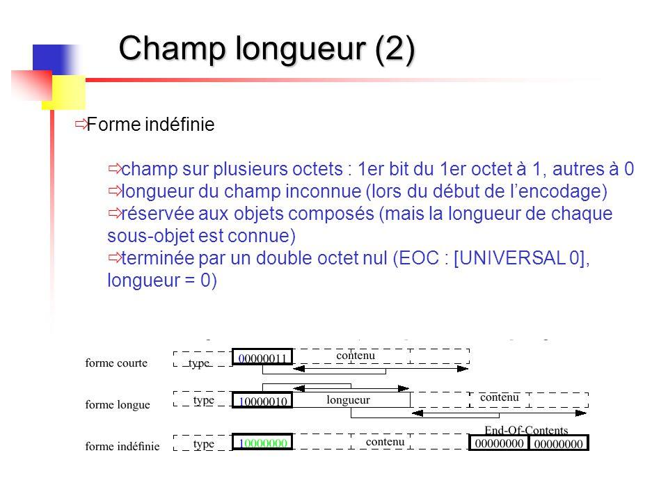 Champ longueur (2) Forme indéfinie