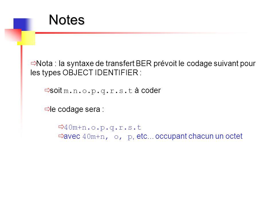 Notes Nota : la syntaxe de transfert BER prévoit le codage suivant pour les types OBJECT IDENTIFIER :