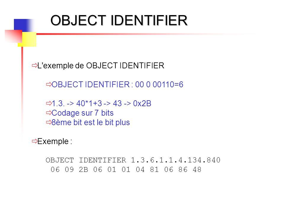 OBJECT IDENTIFIER L exemple de OBJECT IDENTIFIER