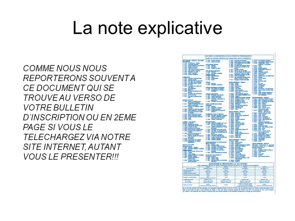 La note explicative