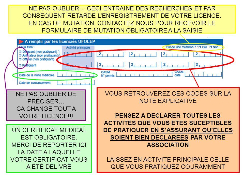 NE PAS OUBLIER DE PRECISER… CA CHANGE TOUT A VOTRE LICENCE!!!