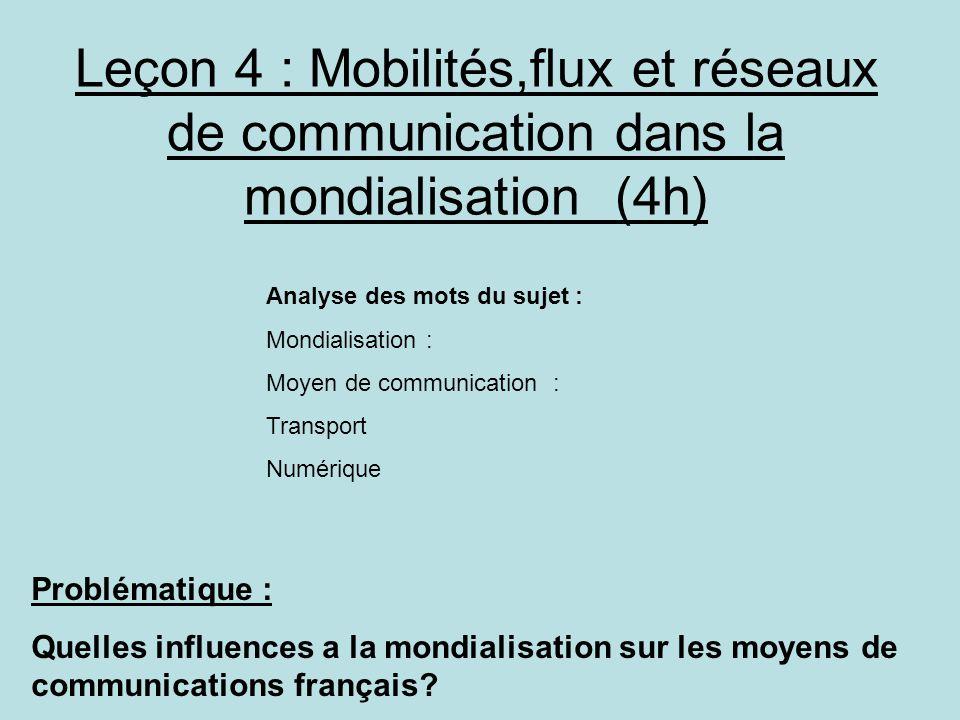 Leçon 4 : Mobilités,flux et réseaux de communication dans la mondialisation (4h)
