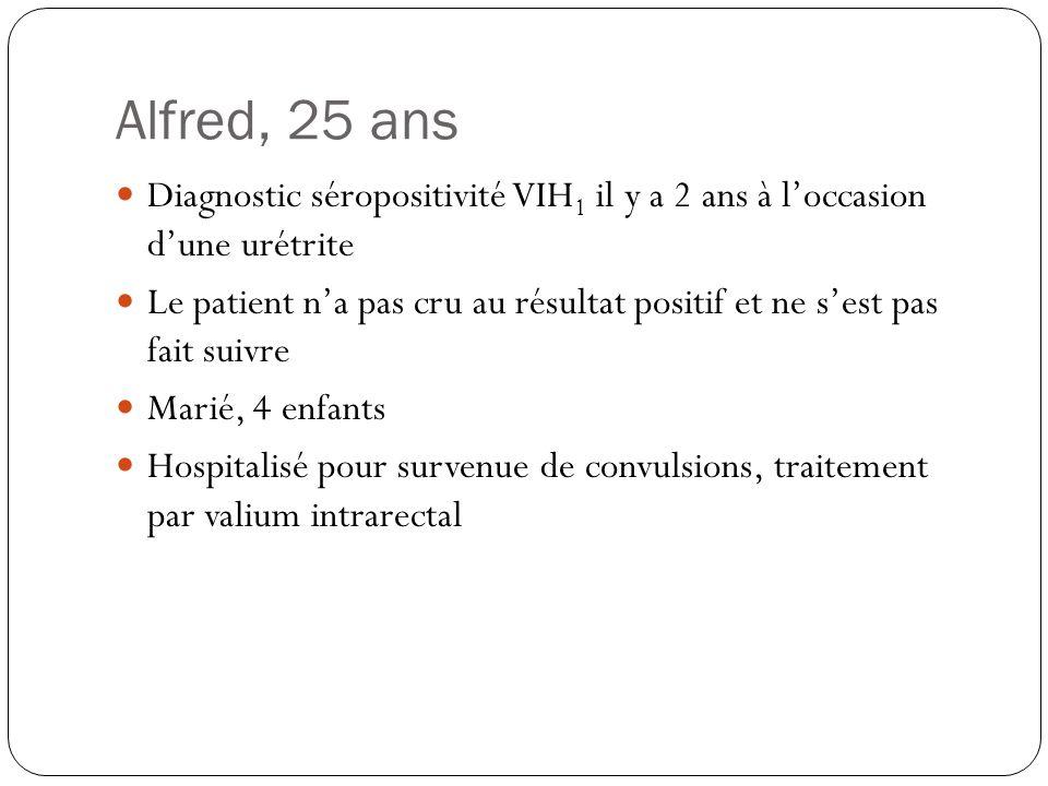 Alfred, 25 ans Diagnostic séropositivité VIH1 il y a 2 ans à l'occasion d'une urétrite.