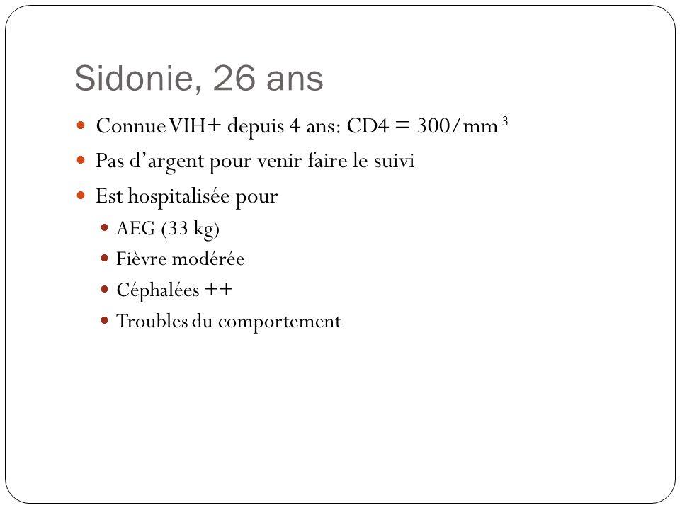 Sidonie, 26 ans Connue VIH+ depuis 4 ans: CD4 = 300/mm 3