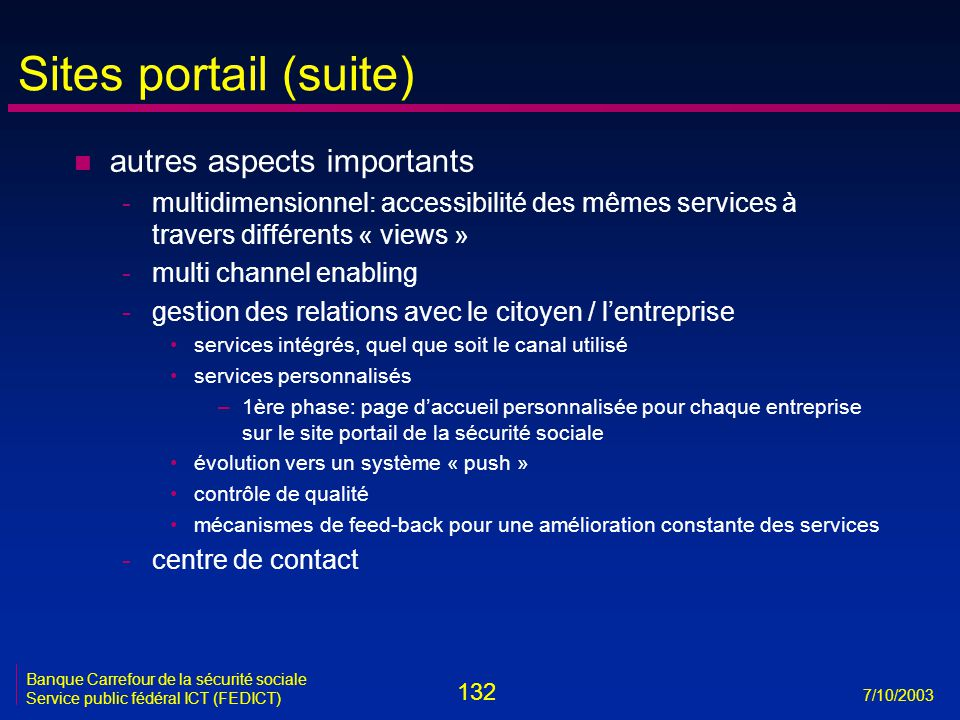 Sites portail (suite) autres aspects importants