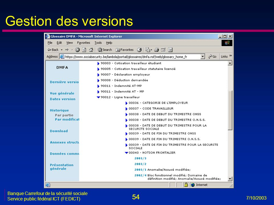 Gestion des versions