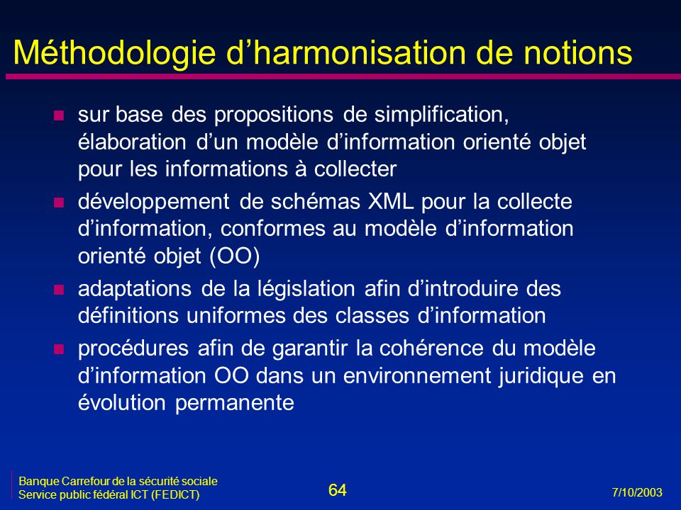 Méthodologie d'harmonisation de notions