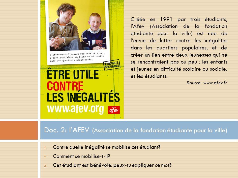 Doc. 2: l'AFEV (Association de la fondation étudiante pour la ville)