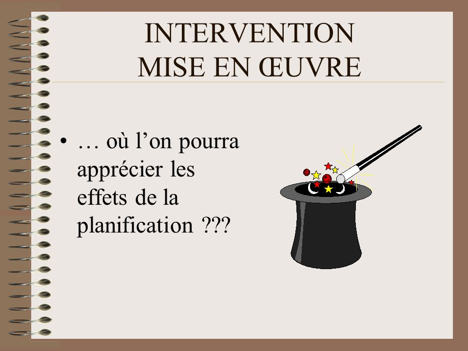INTERVENTION MISE EN ŒUVRE