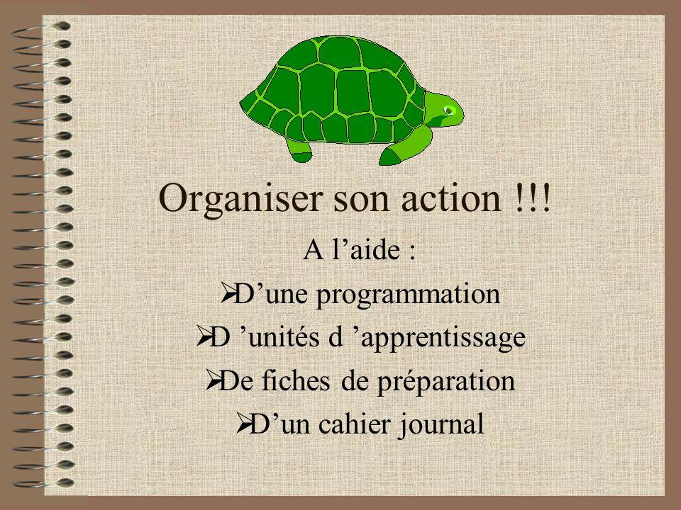 Organiser son action !!! A l'aide : D'une programmation
