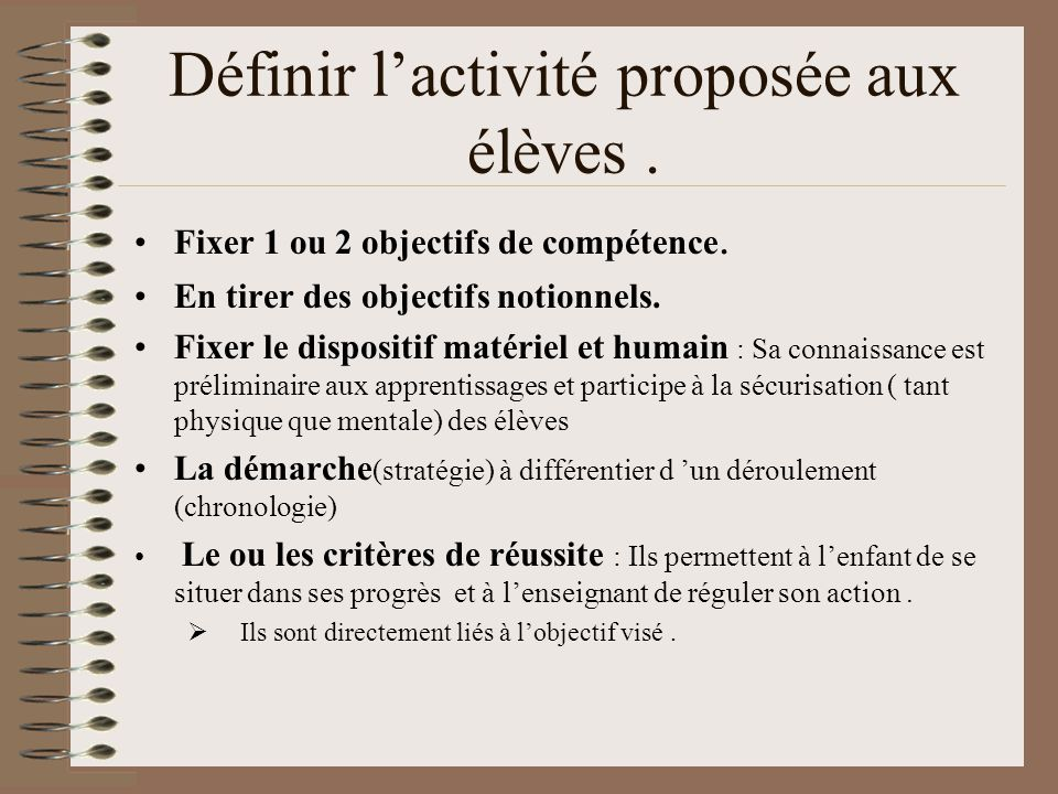 Définir l'activité proposée aux élèves .