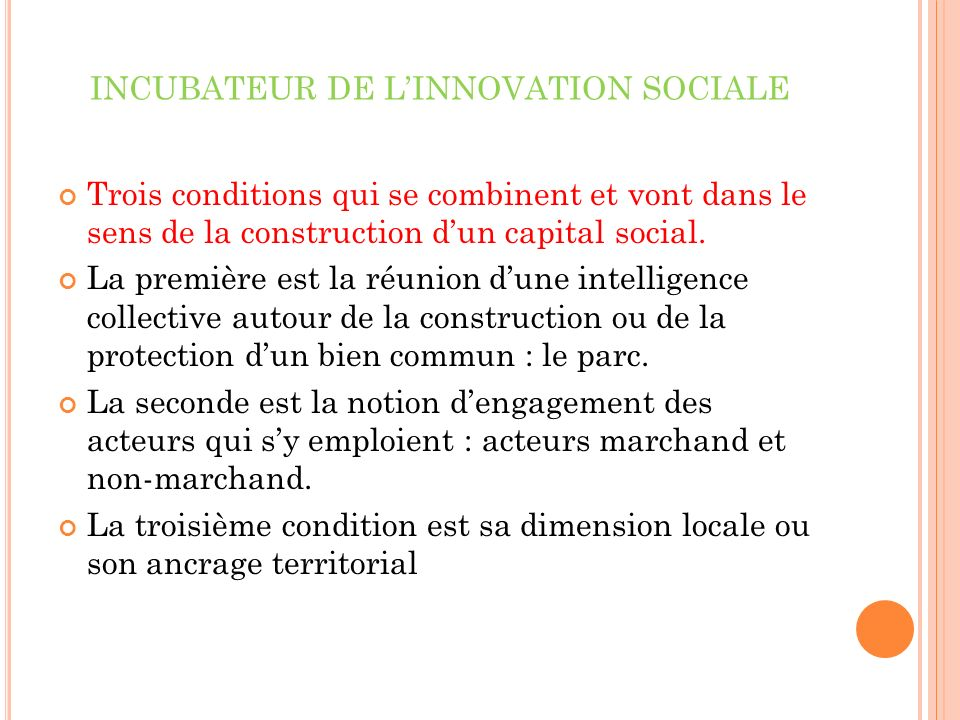 INCUBATEUR DE L'INNOVATION SOCIALE