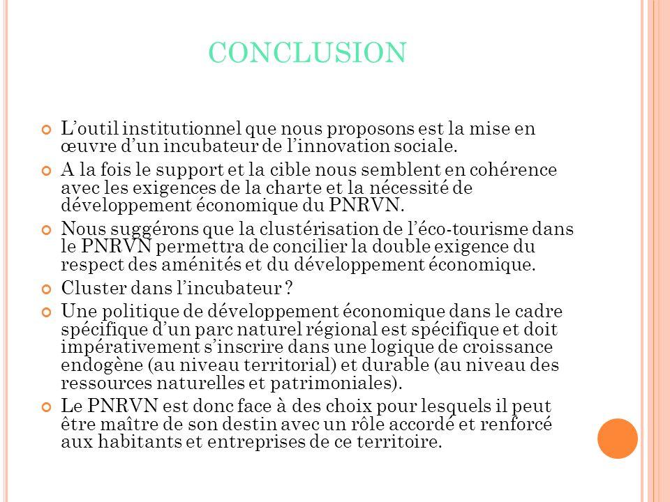 CONCLUSION L'outil institutionnel que nous proposons est la mise en œuvre d'un incubateur de l'innovation sociale.