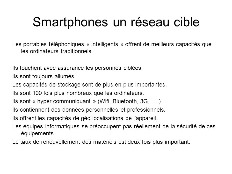 Smartphones un réseau cible