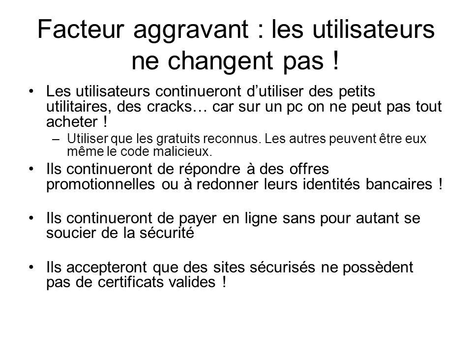 Facteur aggravant : les utilisateurs ne changent pas !
