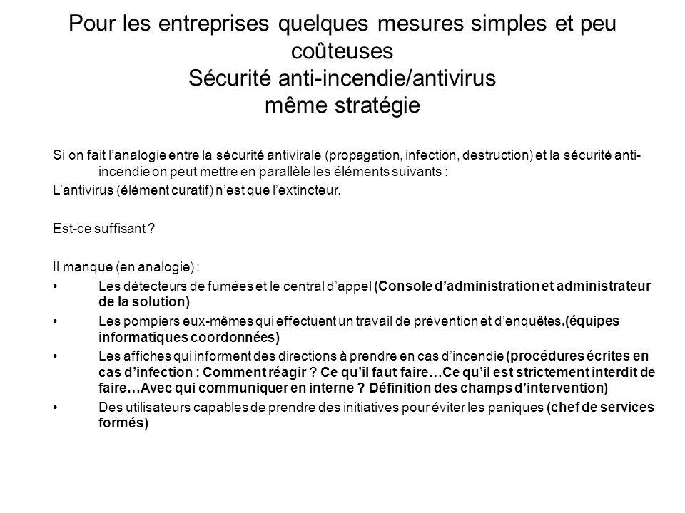 Pour les entreprises quelques mesures simples et peu coûteuses Sécurité anti-incendie/antivirus même stratégie