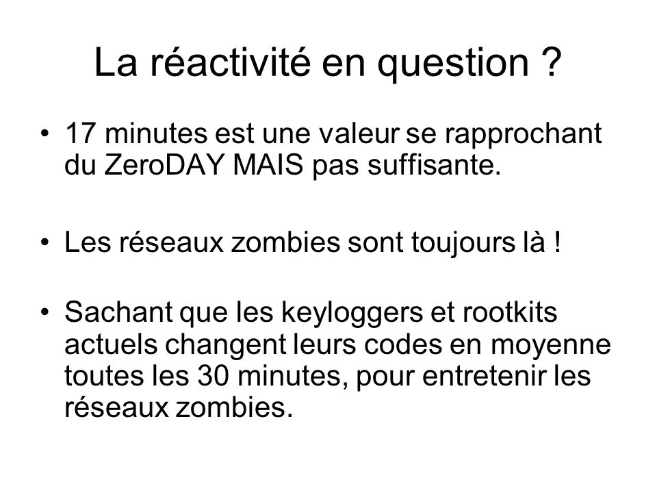 La réactivité en question