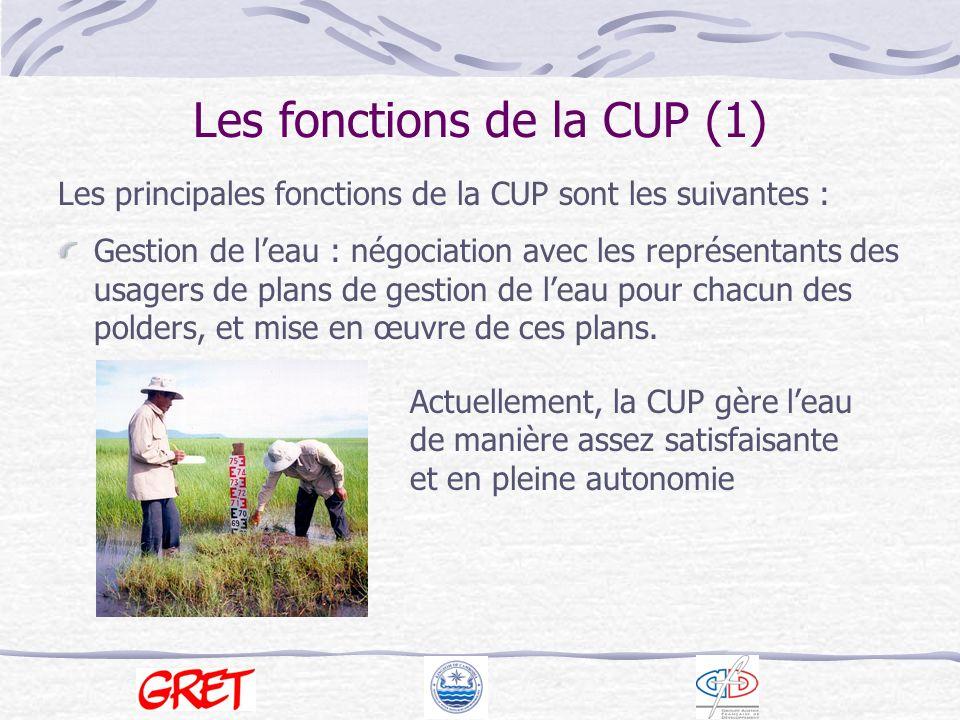 Les fonctions de la CUP (1)