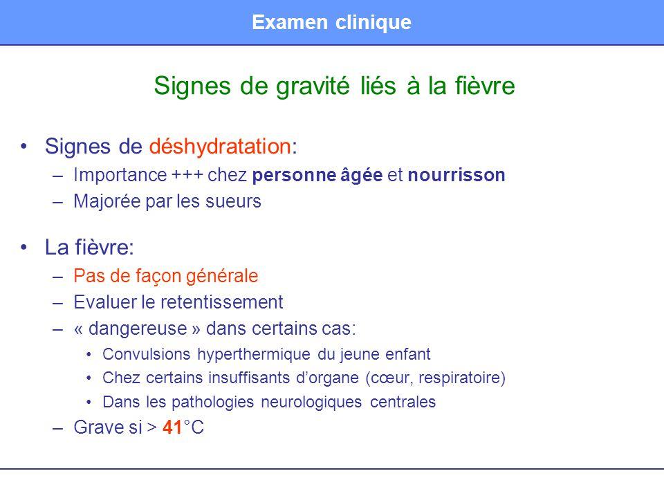 Signes de gravité liés à la fièvre