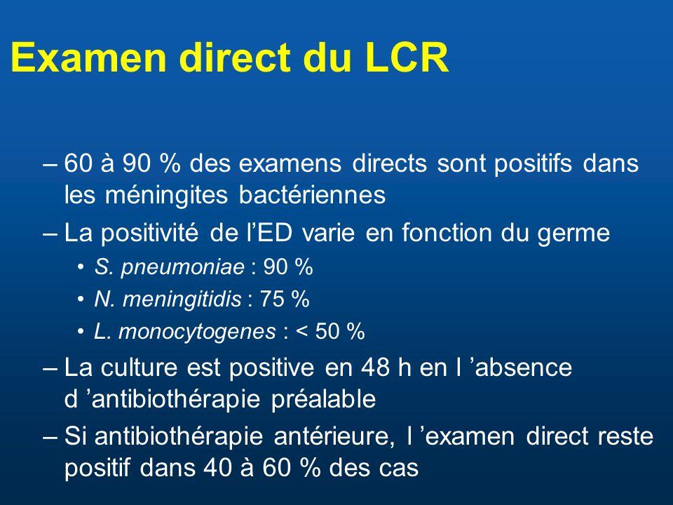 Examen direct du LCR 60 à 90 % des examens directs sont positifs dans les méningites bactériennes. La positivité de l'ED varie en fonction du germe.