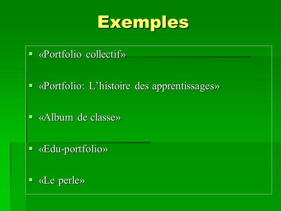 Exemples «Portfolio collectif»